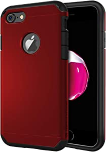 ImpactStrong iPhone 8 Case, Slim Heavy Duty Dual Layer Protection Cover Heavy Duty Case for iPhone 8 Only (2X Glass Screen Protector Included) - Deep Red