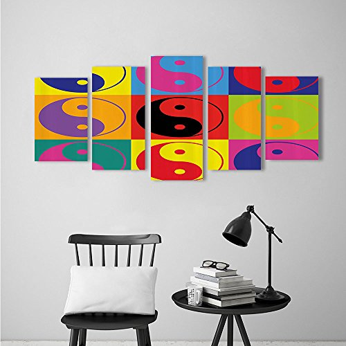 Nalahome Canvas Prints Wall Art Pop Art Design Yin Yang Signs Style Eastern Asian Peace And Balance Extralong Multi For Living Room Bedroom Home Decorations Modern 5 Piece Stretched