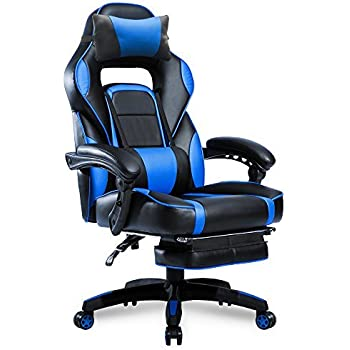 Merax High-Back Racing Home Office Chair Ergonomic Gaming Chair Footrest PU Leather  sc 1 st  Amazon.com & Amazon.com: Merax High-Back Racing Home Office Chair Ergonomic ...