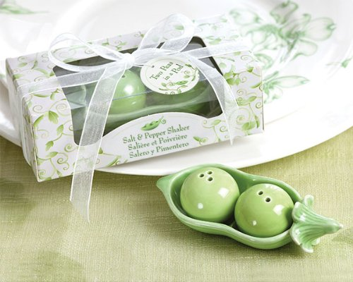 30 SETS of Two Peas in a Pod - Ceramic Salt & Pepper Shakers in Ivy Print Gift Boxes
