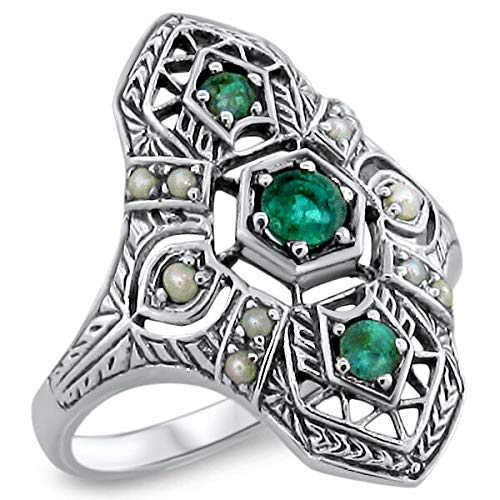 Genuine Emerald Antique Art Deco Style .925 Sterling Silver Ring Size 5.75 KN-4311 from VELEZO