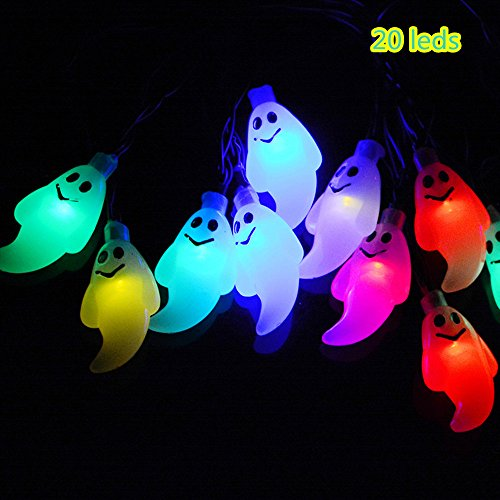 20LED 3D Skeleton Skull Ghost Halloween Pumpkin Outdoor Indoor Lighting String Light Lamp for Halloween Christmas Masquerade Carnival Themed Party Decor (Little Ghost:4.8X2.2cm, Mixcolor)