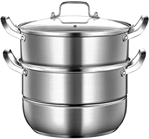 Luckya Large 2 Tier Stainless Steel Multi Food Cook Pot Steamer Glass Lid 27.5cm,Polished Mirror Finish, Oven Safe, for All hobs