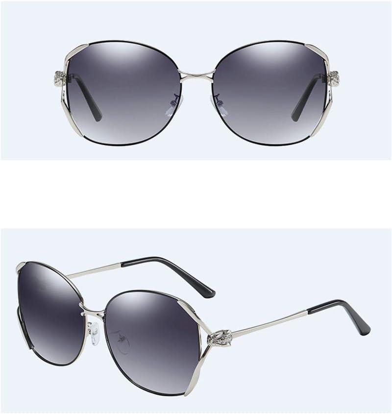 SXRAI Lunettes de Soleil polarisées de Mode Femmes Grandes Lunettes de Monture en métal Nuances Noires Uv400 C1