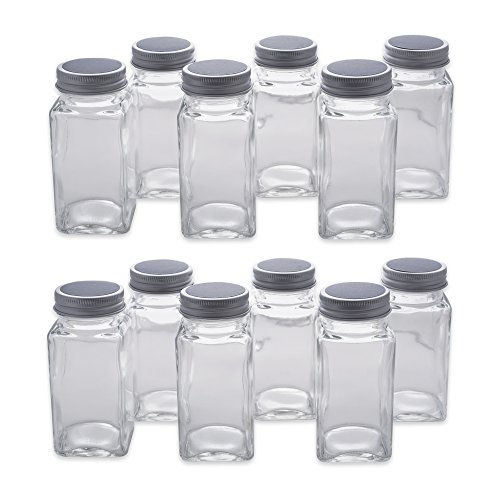 (DII Z01659 Set of 12 Square Jars with Shaker Inserts, Chalk Board Labels for Spices, Party Favors, Craft, Office Supplie, Projects and More, ((4 ounce, 4