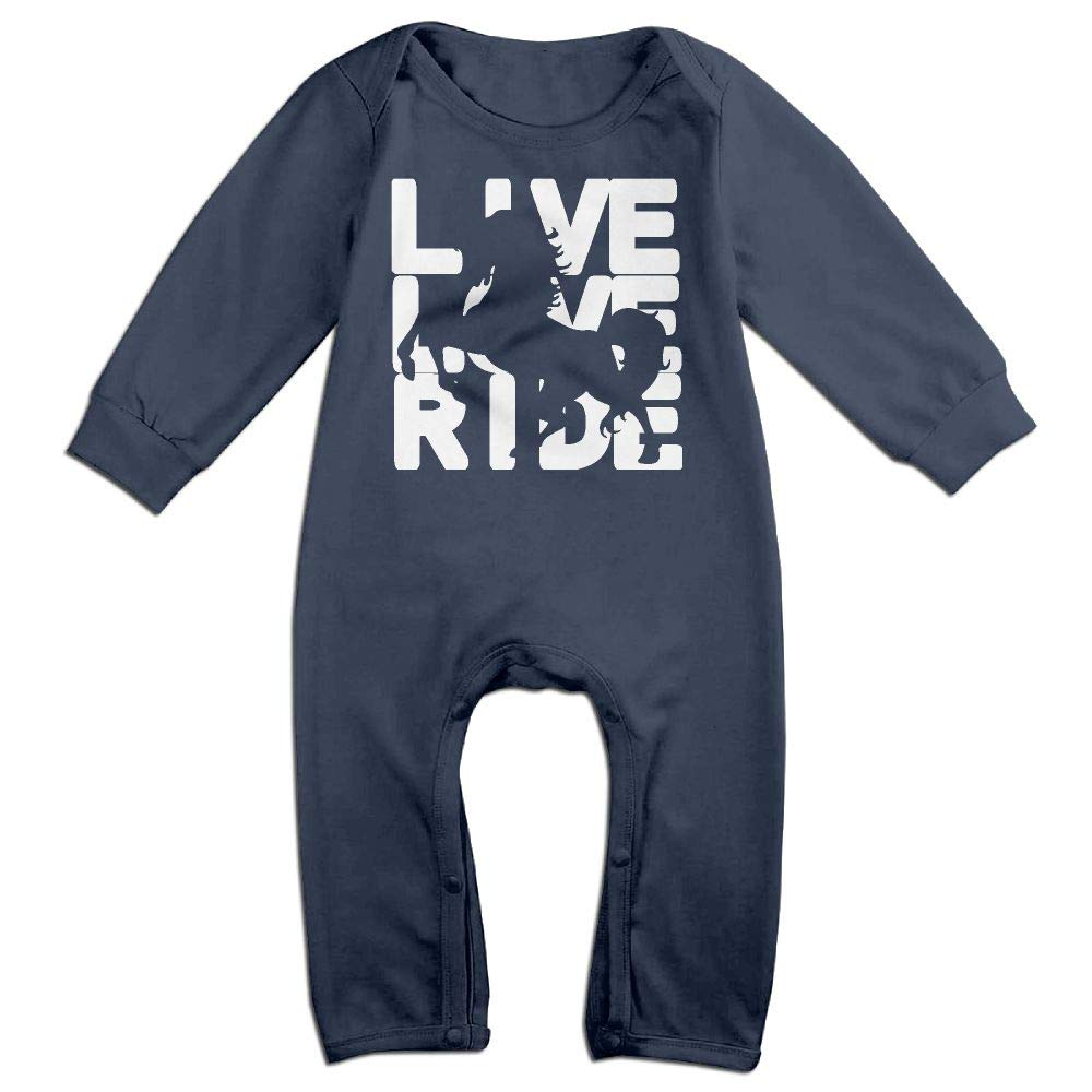 Baby Boy Coverall Live Love Ride Horse 7-1 Infant Long Sleeve Romper Jumpsuit