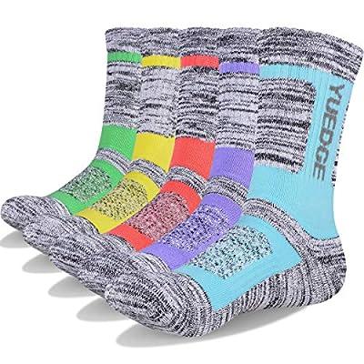 YUEDGE Women's Athletic Crew Sock Cotton Cushion Performance Trekking Walking Hiking Socks