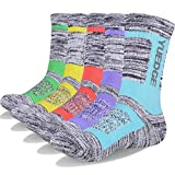 YUEDGE 5 Pairs Women's Moisture Wicking Cotton Cushion Crew Socks for Sports Outdoor Walking Hiking