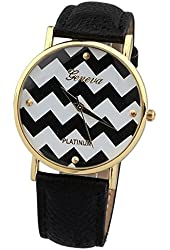 Women's Geneva Chevron Style Leather Watch - Black