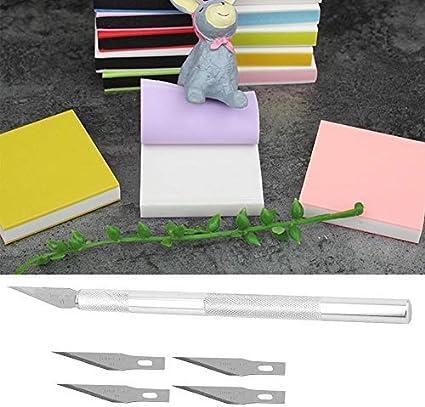 Alfombrilla de corte A5 con bloques de talla, kit de talla de sello de goma Alfombrilla de curación automática con 5 cuchillas y cuchillo de tallado para sellos de bricolaje Hacer manualidades