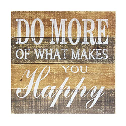 cfmour Wood Wall Sign - Do More of What Makes You Happy - Rustic Vintage Home Decor, Farmhouse Wooden Wall Art Pallet Plaque, 15.7x15.7 inches