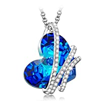 NinaQueen *Heart Of the Ocean* 925 Sterling Silver Pendant Necklace with Sterling Silver cable chain 2016 Paris Fashion Week Latest Heart Shape Design, Blue Sapphire SWAROVSKI ELEMENTS Women Jewelry, Symbol of Love Fine Necklace* *Ideal gift for your wife