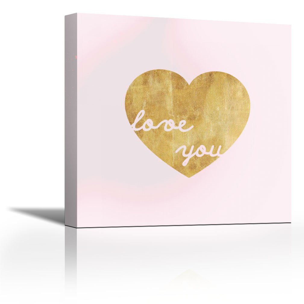 CANVAS /'Love Pink and Gold Heart/' Gallery Wrapped Art Wall Decor