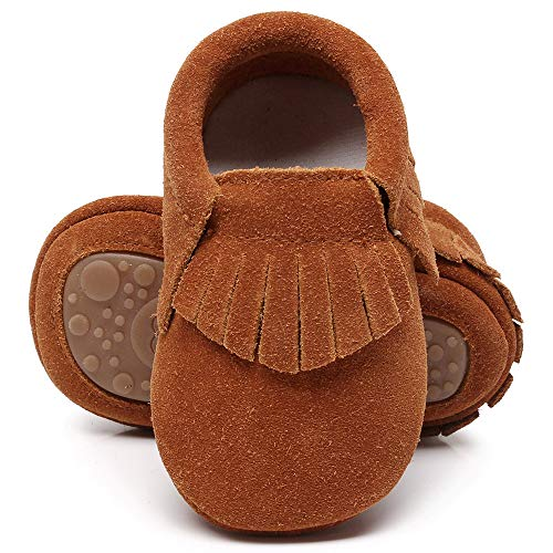 HsdsBebe Toddler Baby Boy Girl Suede Moccasins Genuine Leather Hard Rubber Sole First Walkers Tassels Crib Shoes (18-24 Months M US Toddler, A-Dark Brown)