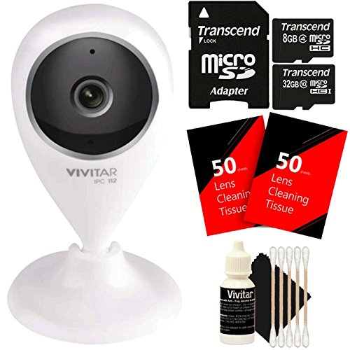 Vivitar VIV-IPC-112N IP CAM. 1.3MP W/110 Angle Night Vision + 40GB MicroSD Memory Card + 100 Lens Tissue + 3pc Cleaning Kit by Teds