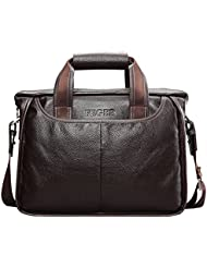 Men Genuine Leather Business Briefcase Shoulder Tote Handbag