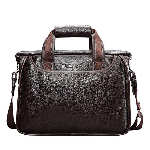Men Genuine Leather Business Briefcase Office Laptop Shoulder Tote Handbag (Brown)