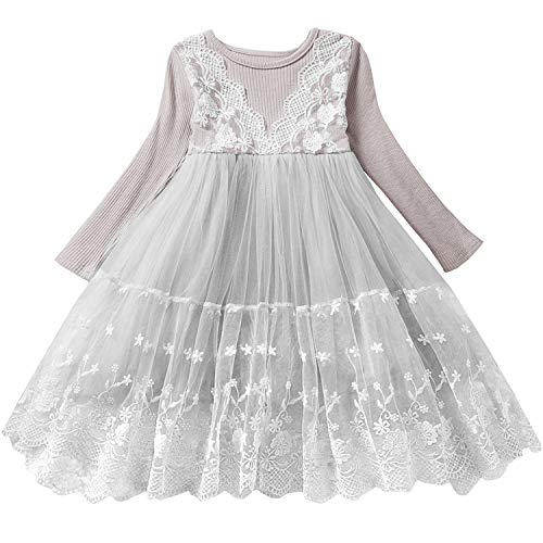 TTYAOVO Girls Knit Longsleeve Lace Flower Tulle Layered