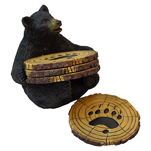 Black Bear Drink Coaster Set of 4 with Rubber Pad Base - Cool Rustic Home Table Beer and Wine Beverage Coaster With Holder (Best Pine For Outdoor Furniture Stain)