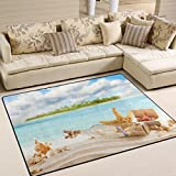 ALAZA Summer Sea Beach Shell Starfish Area Rug for Living Room Bedroom 5'3 x 4′ Review