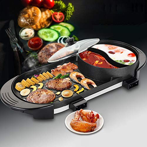 Uttiny Portable Electric Grill, 2000W Electric Indoor and Ourdoor Shabu Shabu Hot Pot with Barbecue Medical Stone Non-Stick Pan for 2-12 People Gatherings by Uttiny (Image #6)