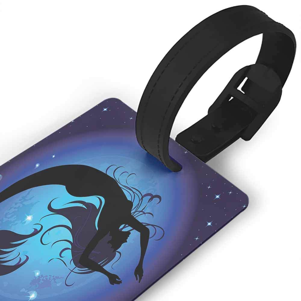 Small luggage tag,Mermaid,Digital Art Mermaid in Tropical Ocean Magical Legendary Fairytale Creature Print,Holders Zip Seal /& Steel Loops Thick Navy Ocean Blue