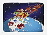 Lunarable Christmas Bath Mat, Santa Claus in Space Drop Gifts to Earth Celestial Theme Europe America Kids Theme, Plush Bathroom Decor Mat with Non Slip Backing, 29.5 W X 17.5 W Inches, Blue Red