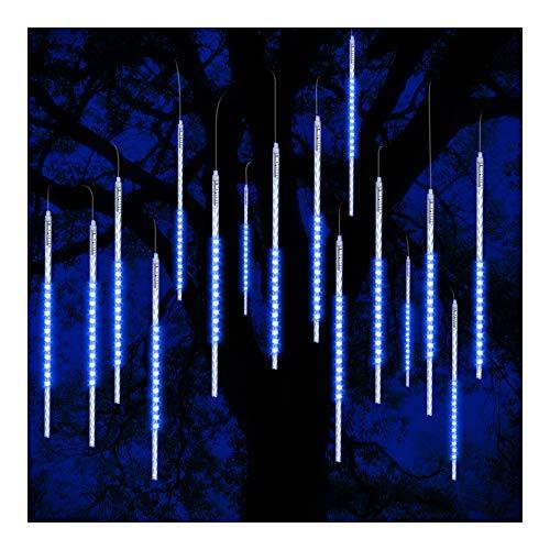 ohCome Meteor Shower Rain Drop Lights 50cm 10 Spiral Tubes 540 LEDs Waterproof Icicle Snowfall String Lights for Wedding Christmas Xmas Halloween Garden Tree Home Decor (Blue)