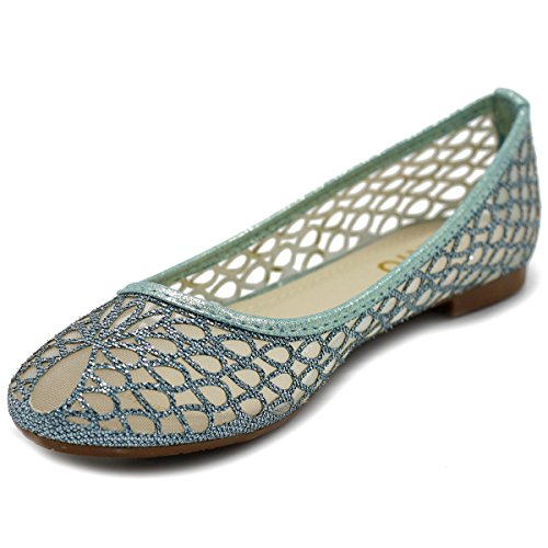 Ollio Scarpe Da Donna Maglia Glitter Comfort Balletto Flat Style2-blu