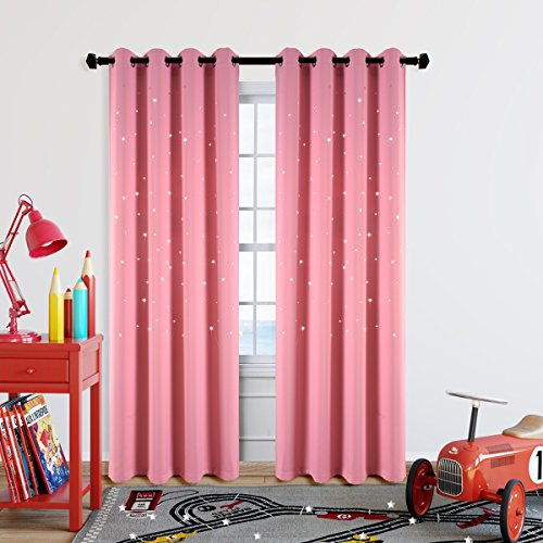 Girls Bedroom Curtain for Starry Night Twinkle Blackout Curtains, 2 Panels Grommet Top Nursery Essential Star Cutout Curtains Perfect for Kids/Space-Loving Grown-ups, W52 x L84 Inches, Baby Pink - Top Curtain Panel