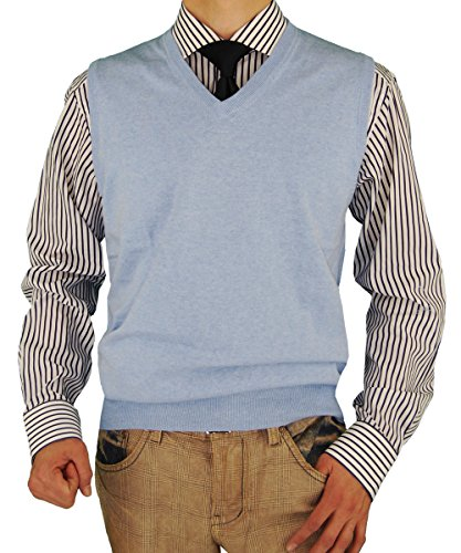 Luciano Natazzi Men's Classic Fit V-Neck Sweater Vest (XX-Large, Light Blue) Patterned Knit Vest