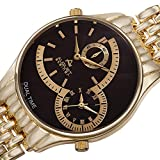 August Steiner Men's AS8141BR Yellow Gold Dual Time Zone Quartz Watch with Brown Dial and Yellow Gold Bracelet