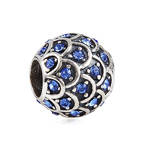 Sterling Silver Fish Beads - Sparkling Fish Scale with Simulated Sapphire Austrian Crystal September Birthstone 925 Sterling Silver Bead Fits Pandora Charm Bracelet