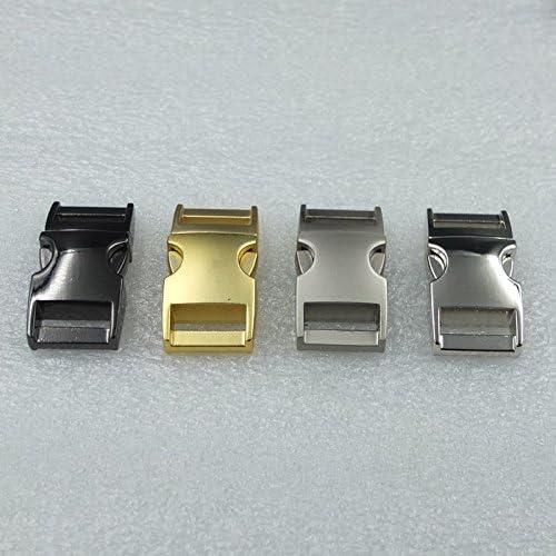 2Pcs 20mm Metal Side Release Buckles for Paracord Bracelets Bag Top Curved