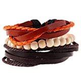 Aoruisier Men's Mixed Beaded Bracelets Adjustable Handmade Multi Strand Braided Leather Bracelets Handmade Woven