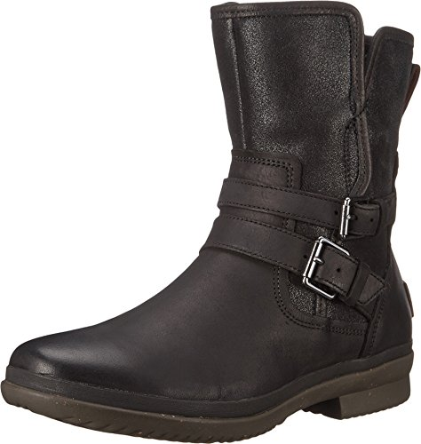 UGG Women's Simmens Leather Rain Boot, Black Leather - 7.5 B(M) US (Leather Pig Boot)