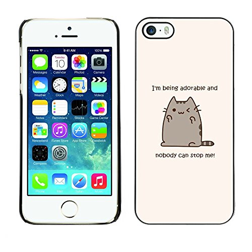 Soft Silicone Rubber Case Hard Cover Protective Accessory Compatible with Apple iPhone? 5 & 5S - cute cat cartoon funny fat yellow text