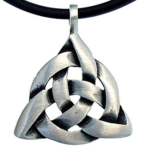 - OhDeal4U Celt Celtic Trinity Triquetra Knot Silver Pewter Pendant Charmed Amulet W Necklace (Black PVC Cord)