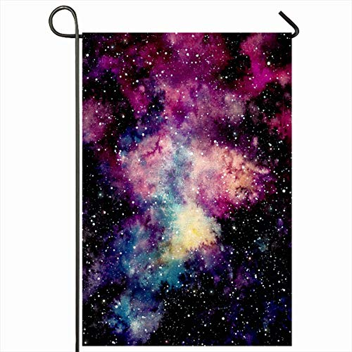 Ahawoso Outdoor Garden Flag 12x18 Inches Astral Night Abstract Watercolor Deep Pink Yellow Plasma Nebula Space Starry Nature Astrology Black Seasonal Double Sides Home Decorative House Yard Sign ()