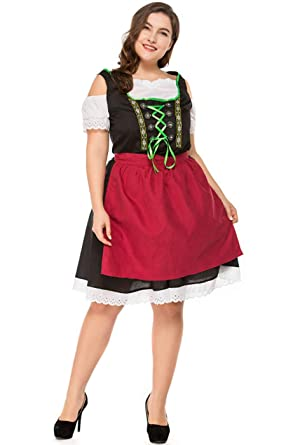8765d037548 Tiaoqi Women s Plus Size German Dirndl Dress Costumes for Bavarian  Oktoberfest Carnival Halloween(S-