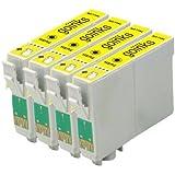 4x Compatible Cartouche d'encre jaune d'imprimante pour remplacer T0714 pour une utilisation dans Epson Stylus D78 D92 D120 D5050 DX400 DX4000 DX4050 DX4400 DX4450 DX5000 DX5050 DX6000 DX6050 DX7000F DX7400 DX7450 DX8400 DX8450 DX9400 DX9400F BX300F BX310FN BX3450 SX115 SX200 SX205 SX210 SX215 SX218 SX400 SX405 SX415 SX600FW SX510W SX515W SX610FW