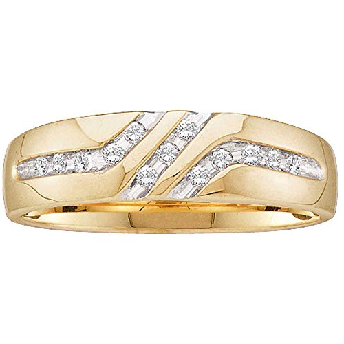 Jewels By Lux 10kt Yellow Gold Mens Round Channel-Set Diamond Triple Row Wedding Band Ring 1/8 Cttw Ring Size 9