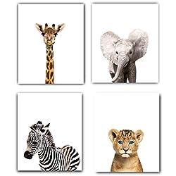 Safari Baby Animals Nursery Decor Art - Set of 4 UNFRAMED Wall Prints 8x10