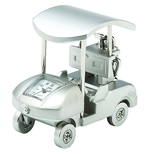 lf Cart Clock with Canopy, 1.5 by 2.25-Inch, Silver (Golf Cart Desk)