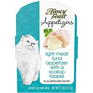Purina Fancy Feast Wet Cat Food Complement; Appetizers Light Meat Tuna With a Scallop Topper - 1.1 oz. Tray, pack of 10 68
