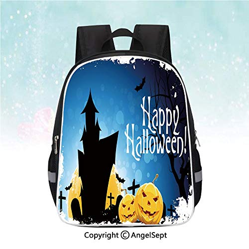 Casual Backpack,Gothic Ancient Castle Moon Cruciform Graveyard Tree Silhouette Abstract,13