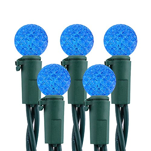 Brizled Faceted LED Christmas Lights, 50 LED 16.3 ft Mini String Lights, 120V UL Certified, for Indoor and Outdoor Decorations, Patios, and Christmas Tree, Blue ()