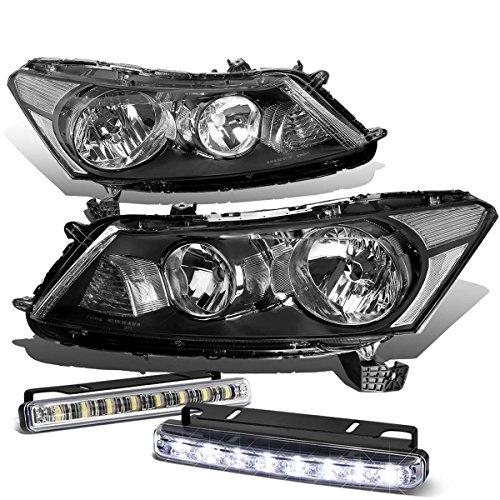 (For Honda Accord 8th Gen Sedan Black Housing Clear Corner Headlight+DRL 8 LED Fog Light)
