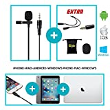 Professional Lavalier Microphone,Omnidirectional Lapel Microphone for iPhone, iPad, Android, Smartphone, Pc, Camera, Gopro-For Headsets with Separate Headphone Microphone Plugs-Mic y splitter cable