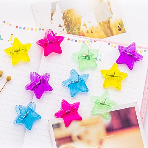 25 pcs Crystal star clip decoration Transparent paper clips for Memo photo clamp Wedding Stationery Office school